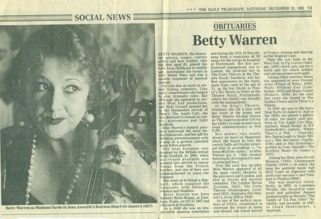 betty warren obituary