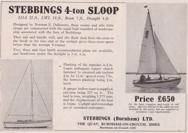 Stebbings 4-ton sloop, designed by Norman E. Dallimore